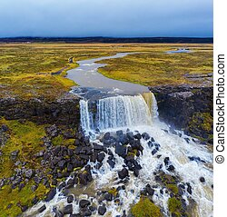 Oxarafoss waterfalls in Iceland