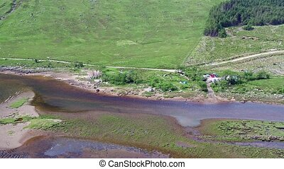 Aerial view of the paradisal landscape of river and Loch...