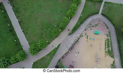 Aerial view of the park. The Park is a landscaped area ...