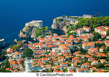 aerial view of the part of Dubrovnik Old town with Fort Lovrijenac