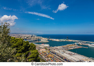 Aerial view of the port in Barcelona, Spain