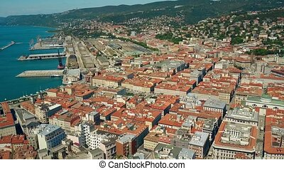 Aerial view of the Porto Vecchio or Port of Trieste city and Centrale railway station, Italy