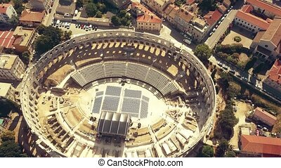 Aerial view of the Pula Arena, famous ancient Roman amphitheatre in Croatia