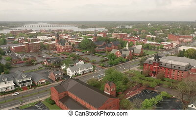 Aerial View of the Quaint Riverfront Downteon City Center of...