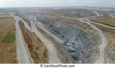 Aerial view of the quarry for the extraction of iron ore