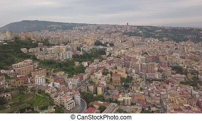 Aerial view of the quarters of Naples. Flight of a drone over Naples.