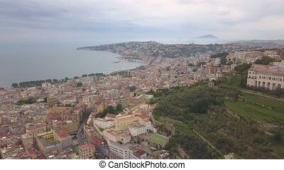 Aerial view of the quarters of Naples. Flight of a drone over Naples overlooking the bay.