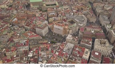 Aerial view of the quarters of Naples. Flight of the drone over the narrow streets and houses of the Spanish quarter.