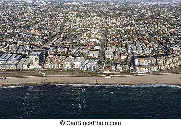 Aerial View of the Redondo Beach Shoreline in Southern California