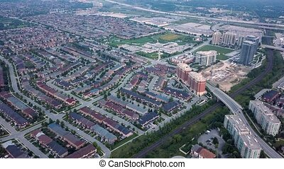 Aerial view of the residential area of the city 4k - Flying...