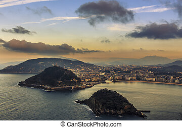 Aerial view of the resort town of San Sebastian in the mountainous Basque Country