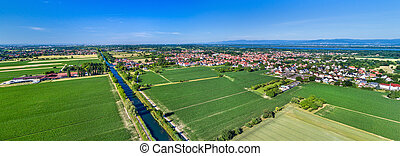 Aerial view of the Rhone - Rhine Canal in Alsace, France