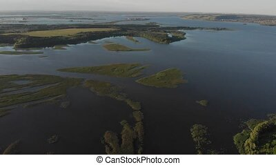 Aerial view of the river and fields. Awesome landscape ...