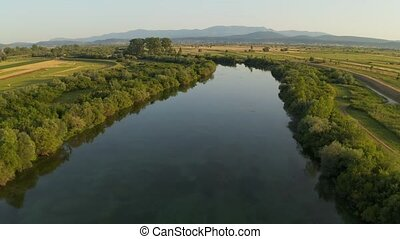 Aerial view of the river Cetina, Croatia - Stream of the...
