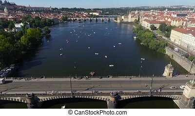 Aerial view of the river in Prague
