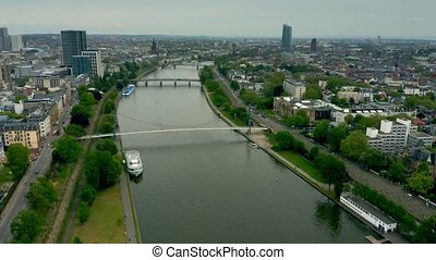 Aerial view of the River Main within Frankfurt am Main...