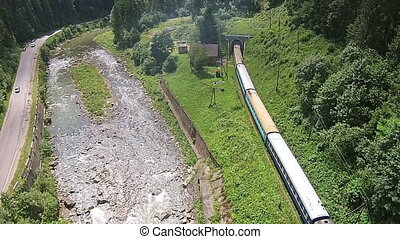 Aerial view of the river near the mountain railway