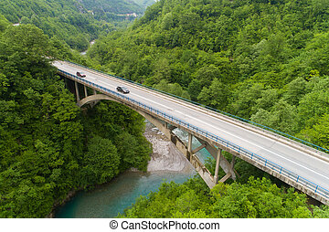 aerial view of the road bridge across the Moraca river