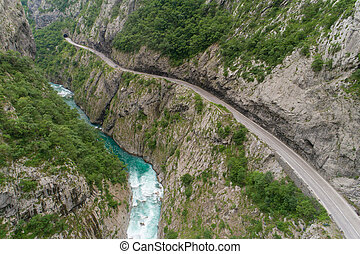 aerial view of the road in the canyon of the river Moraca