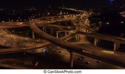 aerial view of the road junction in Moscow at night, Ring...