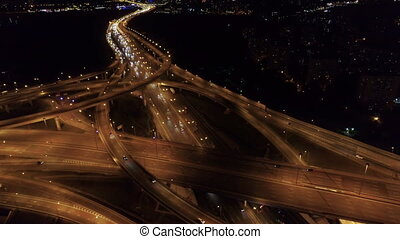 aerial view of the road junction in Moscow at night
