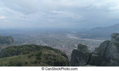 Aerial view of the rock formations near Meteora monasteries....