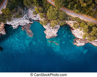 aerial view of the rocky shore of the Adriatic Sea