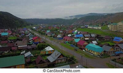 Aerial view of the Russian countryside in rainy weather