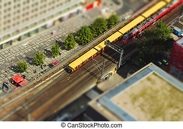 Aerial view of the S-Bahn tracks rapid train and tram train at the Alexanderplatz public square in Berlin
