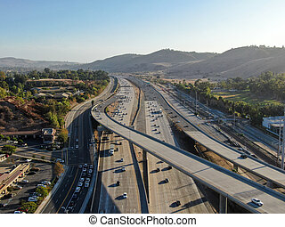 Aerial view of the San Diego freeway