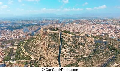 Aerial view of the Santa Barbara castle in Alicante, Spain