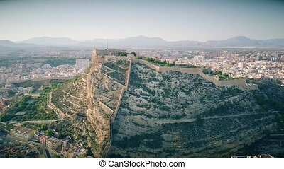 Aerial view of the Santa Barbara castle on the mountain in Alicante, Spain
