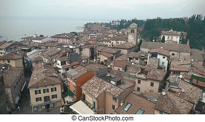 Aerial view of the Scaliger Castle in Sirmione by lake Garda, Italy