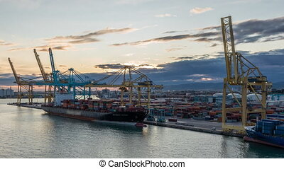 Aerial view of the sea cargo port and container terminal of ...