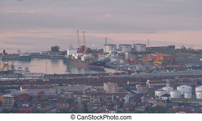 Aerial view of the seaport in Batumi in the evening.