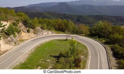 Aerial view of the serpentine mountain road. Croatia