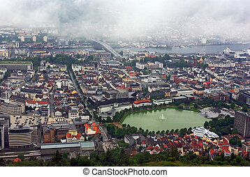 Aerial view of the sity Bergen, Norway