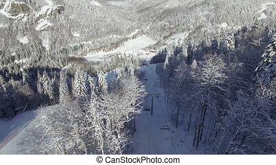 Aerial view of the ski resort