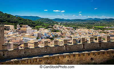 aerial view of the small town Capdepera in Majorca, Spain