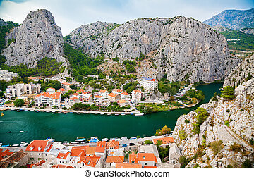 aerial view of the small town Omis