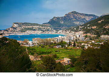 aerial view of the small town Port de Soller