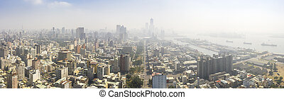 Aerial view of the smog over the city in the morning