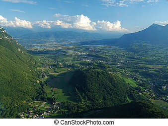 Aerial view of the south valley of Chambery near Challes les Eaux, Savoy, France