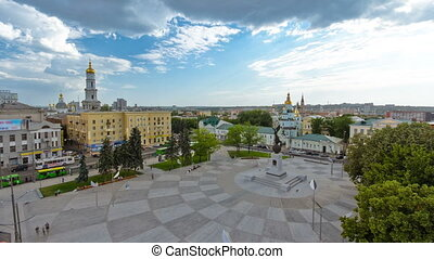Aerial view of the Square of Constitution timelapse in the...
