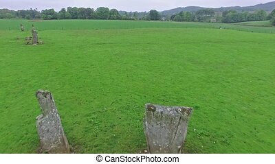 Aerial view of the Standing Stones at Kilmartin Glen,...