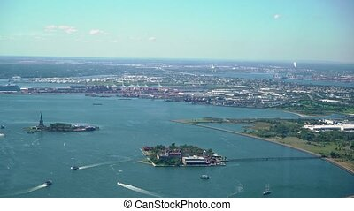 Aerial view of the statue of liberty in new York, USA. Lady liberty. Hudson Bay, Staten island and new Jersey. The view from the height