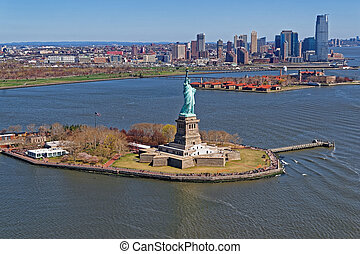 Aerial view of the Statue of Liberty in New York City, USA...