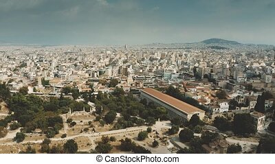 Aerial view of the Ancient Agora of Athens