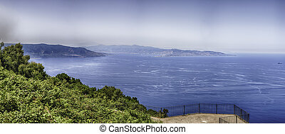 Aerial view of the Strait of Messina, Italy