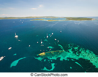 Aerial view of the sunken ship near the island Dugi otok, Croatia